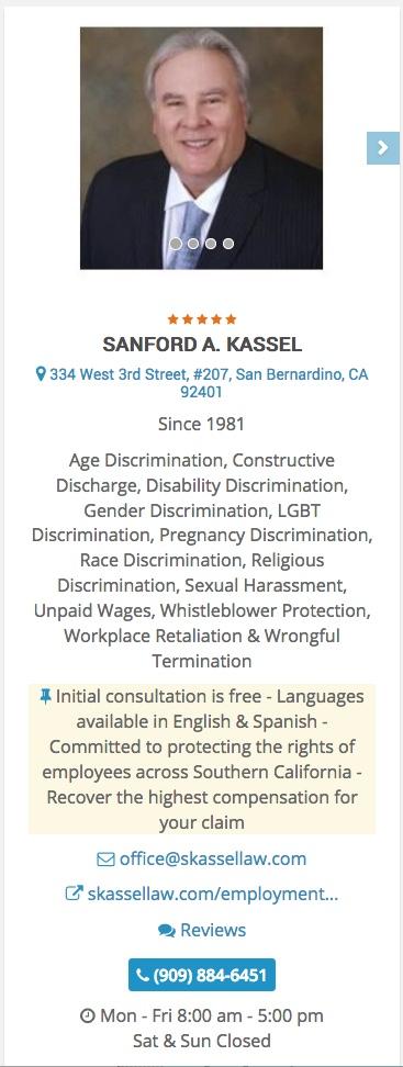 Discrimination Attorney | San Bernardino, CA | SANFORD A  KASSEL